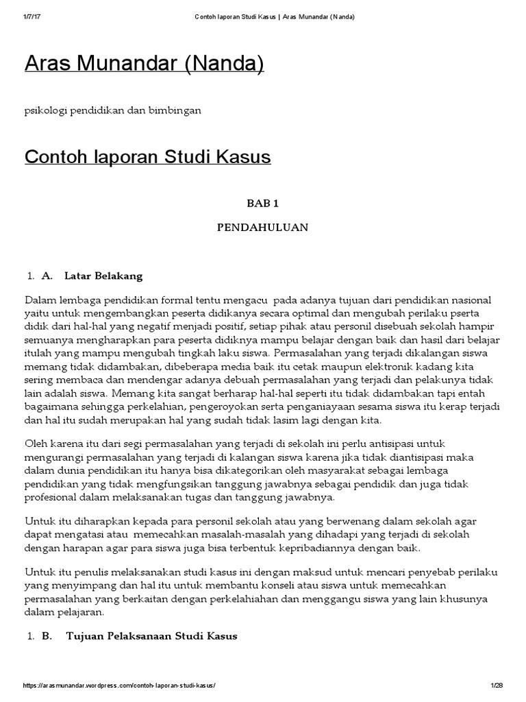 Contoh Laporan Studi Kasus Aras Munandar Nanda