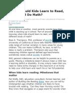 When Should Kids Learn to Read