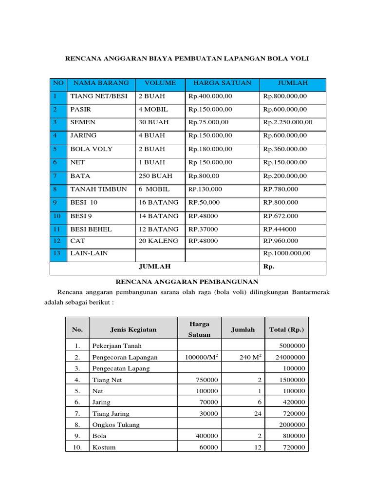 Rencana Anggaran Biaya Pembuatan Lapangan Bola Vol1