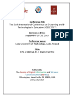 The Sixth International Conference on E-Learning and E-Technologies in Education (ICEEE2017)