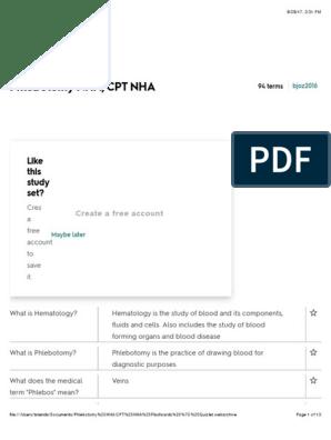 Phlebotomy NHA-CPT NHA Flashcards | Quizlet pdf | White