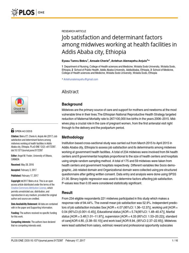 journal pone 0172397 pdf | Job Satisfaction | Midwife