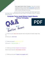Kumpulan Tanya Jawab Bahasa Inggris Beserta Artinya Terlengkap