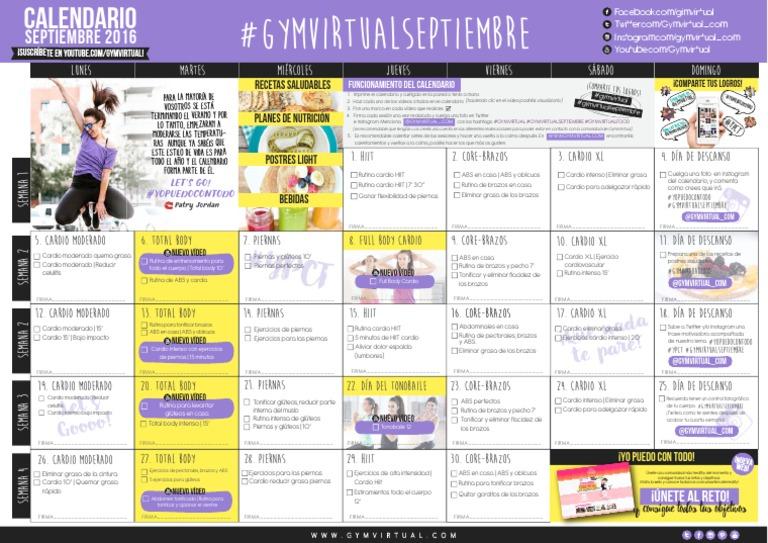 Calendario Septiembre Gymvirtual.Calendario Septiembre Gym Virtual 2016 Pdf