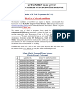 List of First Selection and Waiting List Candidates for Climate Science and Technology