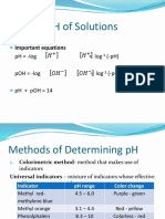 PH of Solutions