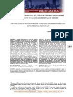 A Responsabilidade Civil Pelos Danos Oriundos de Desastres Naturais No Estado Socioambiental de Direito