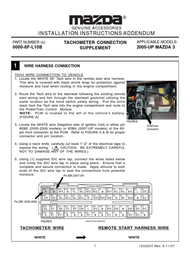 05 mazda 3 engine wire harness remote start addendum  mazda3  electrical connector electrical  remote start addendum  mazda3