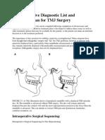 Comprehensive Diagnostic List and Treatment Plan for TMJ Surgery