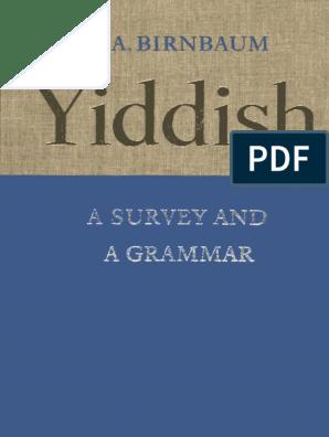 Birnbaum Yiddish Grammar   Jews   Dialect