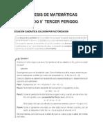SINTESIS DE PERIODO MATEMATICAS 9°