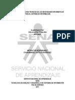 Desarrollo de Fichas Técnicas de Las Necesidades Informáticas Para El Sistema de Información
