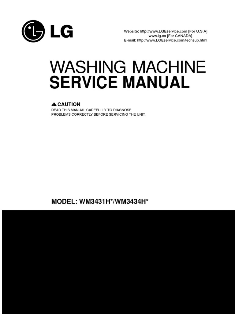 Wm3431 Lg Compact Washer and Dryer Combo Repair Service Manual | Washing  Machine | Electrical Connector