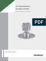 Radar Transmitters Sitrans LR560 Operating Instructions Quick Start Manual