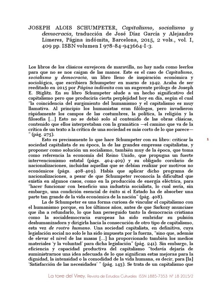capitalismo socialismo y democracia schumpeter pdf gratis