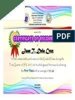 2017 Quarterly Awarding Certificate
