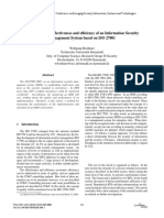 Appraisal of the Effectiveness and Efficiency of an Information Security Management System Based on ISO 27001