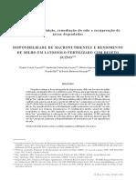 Disponibilidade de Macronutrientes e Rendimento de Milho Em Latossolo Fertilizado Com Dejeto Suíno