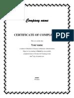 OJT Certification Sample