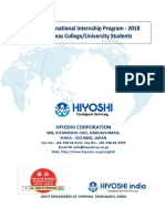 Hiyoshi India Internship 2018 - Brochure