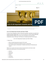 List of All Important Awards and Their Fields