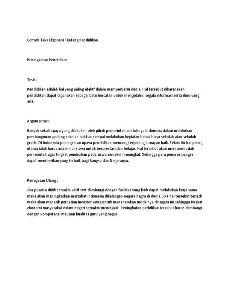 Contoh Teks Eksposisi Tentang Pendidikan