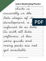 WorksheetWorks Cursive Handwriting Practice 3