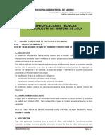 Especificaciones Tecnicas Sistema de Agua Potable 20-8-13