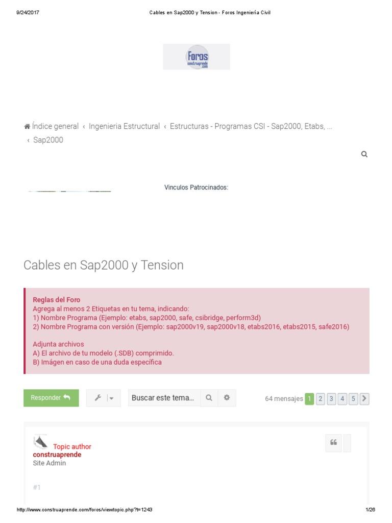 Cables En Sap2000 Y Tension Foros Ingeniería Civil