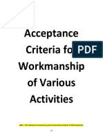 Acceptance Criteria for Workmanship of Various Activities