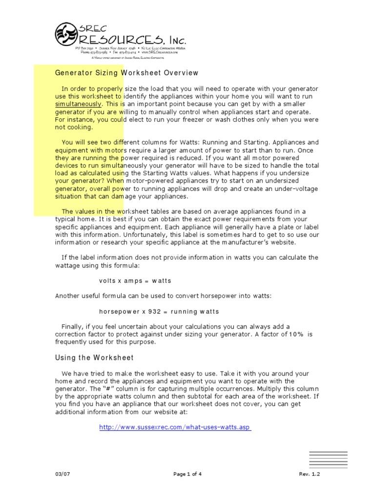 Generator Sizing Worksheet Air Conditioning Hvac