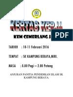Kertas Kerja Kem Cemerlang Jaw(i 2015) Sk Kpg Beraya