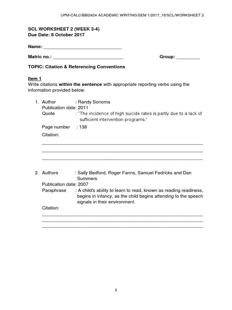 Bbi2424 Scl Worksheet 2 Week 34 Citation Referencing – Paraphrase Worksheet