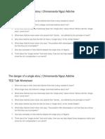 The Danger of a Single Story Worksheet