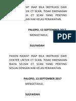 Pasien Rawat Inap Bila Instruksi Dari Dokter Untuk Ct Scan