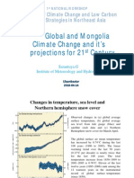Global and Mongolia Climate Change and it's projections for 21st Century