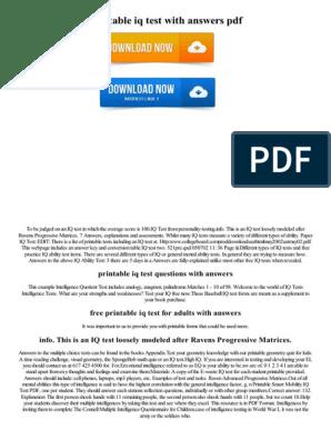 photo regarding Printable Iq Test With Answers Pdf identified as Printable Iq Check out With Methods PDF Kecerdasan Intelektual