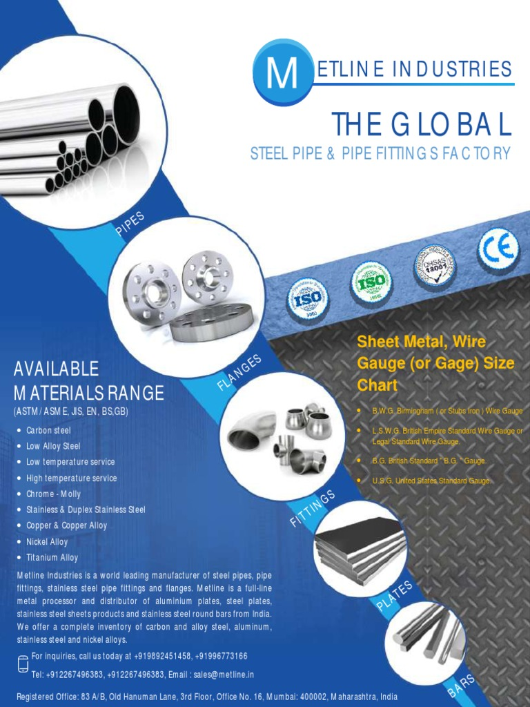 Sheet metal wire gauge or gage size chartpdf greentooth Choice Image