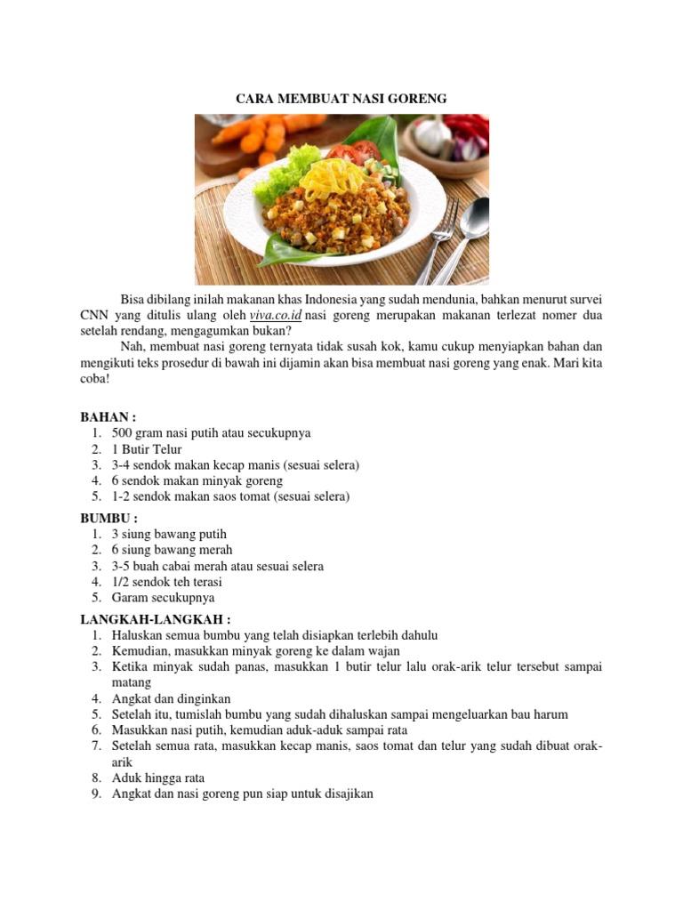Contoh Teks Prosedur Cara Membuat Makanan - Berbagi Teks ...
