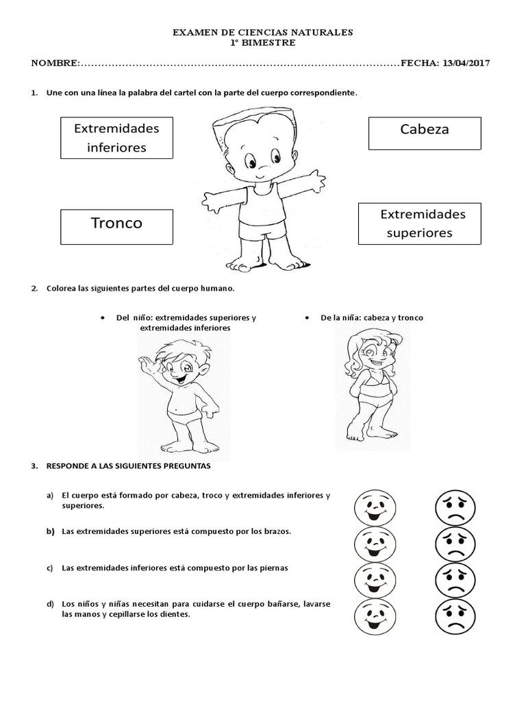 Examen de Ciencias Naturales Para Primero
