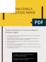 Analyzing a Position PAPER