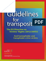 Guidelines for Transposition - The EU Directive on Victims Rights (2012-29-EU) - And Homophobic and Transphobic Crime Victims (ILGA-Europe)