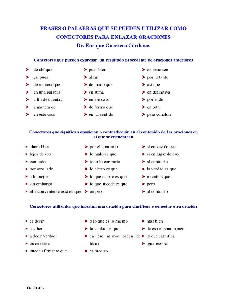 Frases o Palabras Que Se Pueden Utilizar Como Conectores Para ...