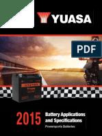 Yuasa Battery Specifications 2015