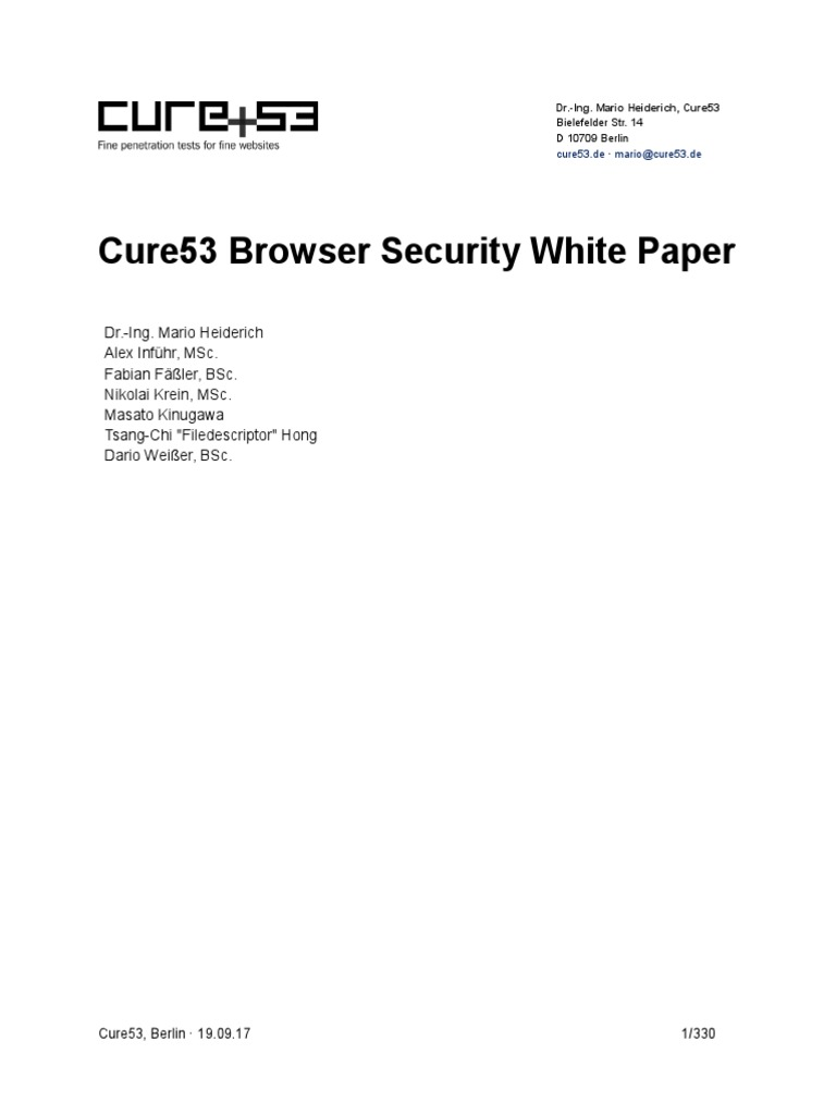 Browser Security Whitepaper | Http Cookie | Operating System