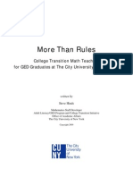 More Than Rules--College Transition Math Teaching for GED Graduates at The City University of New York