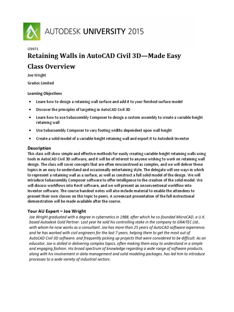 Handout_9971_CI9917 - Retaining Walls Made Easy - Class Overview