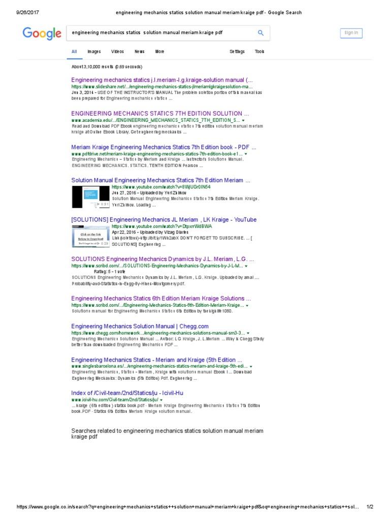 engineering mechanics statics solution manual meriam kraige pdf rh scribd com