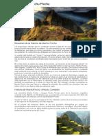 Historia de Machu Picchu