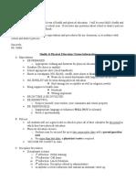 Pe and Health Grading Rubric
